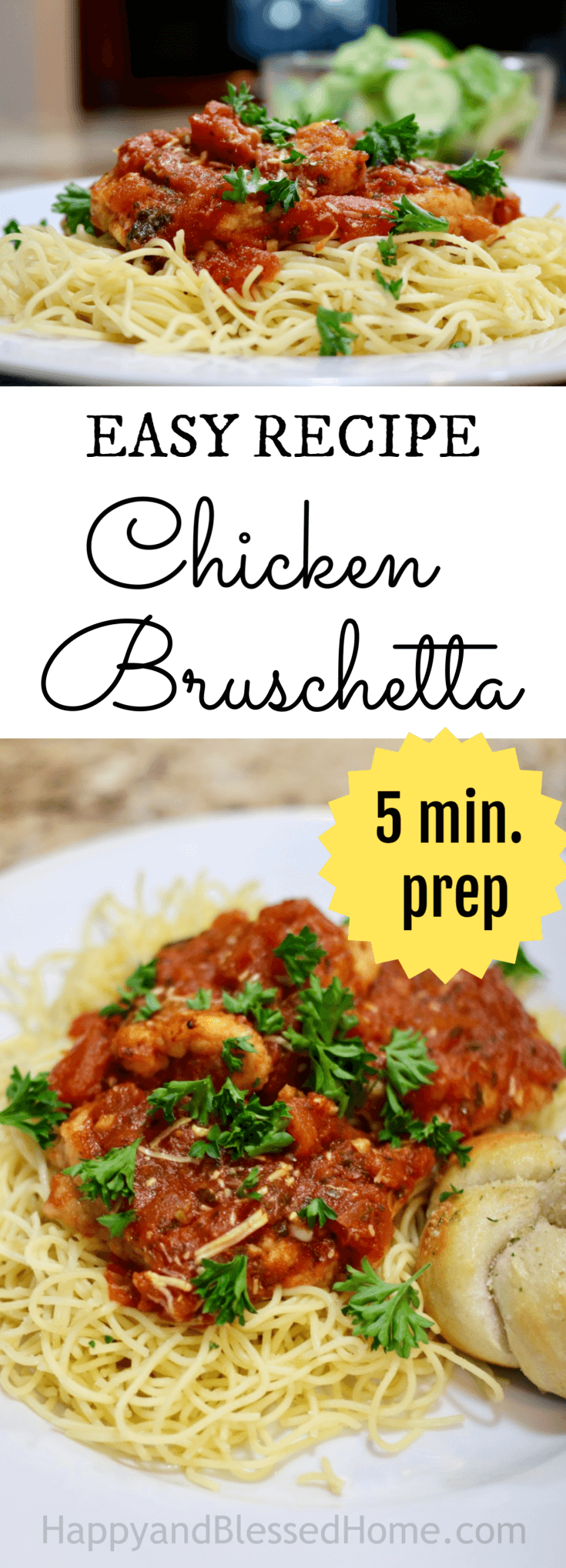 Easiest Chicken Bruschetta Recipe ever - only 5 minutes to prepare - serve with Garlic Knots recipe and side salad for an almost homemade family meal