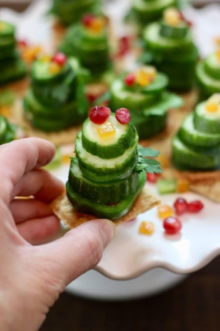 Bite-sized snack Vegetable Stack Christmas Trees Recipe