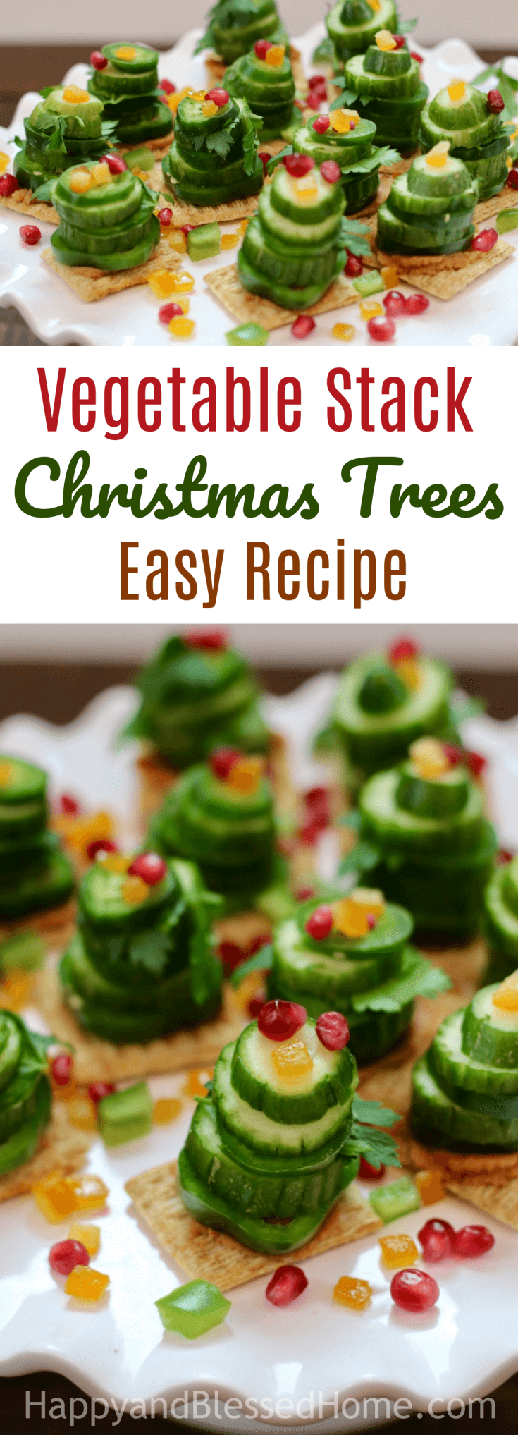 Easy Recipe for Vegetable Stack Christmas Trees - the perfect Holiday Party Appetizer