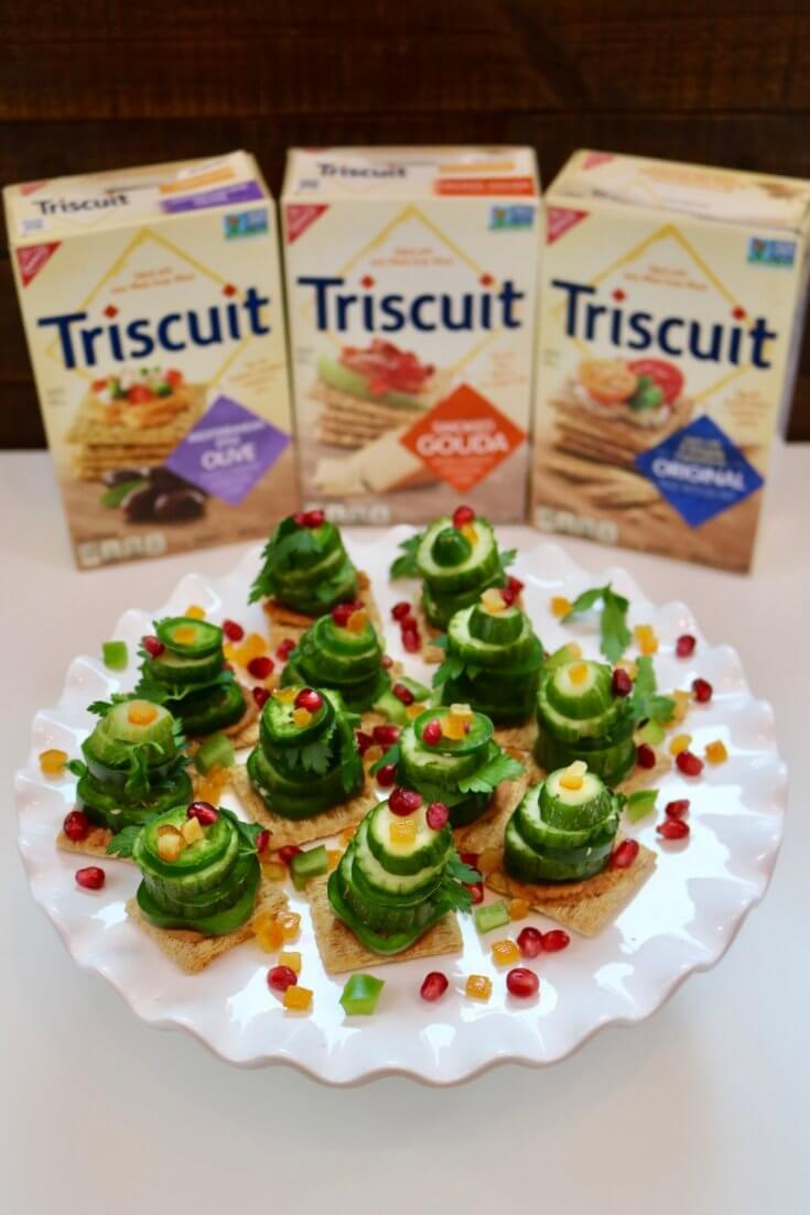 Eat on a Triscuit Vegetable Stack Christmas Trees Recipe