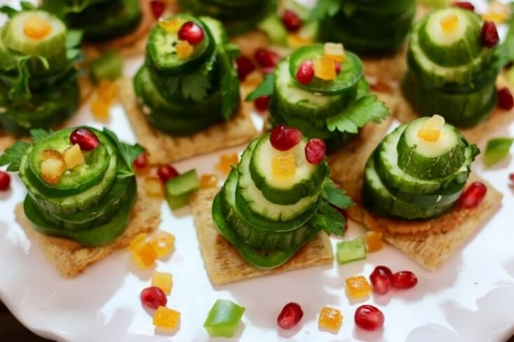 Perfect Snack Food Vegetable Stack Christmas Trees Recipe