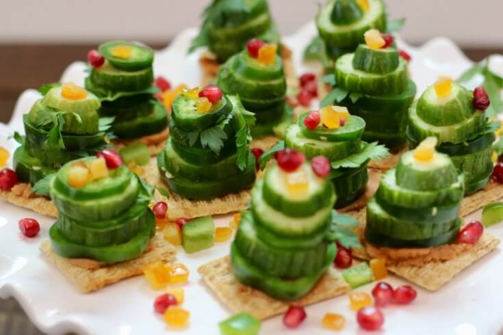 Vegetarian Appetizer Vegetable Stack Christmas Trees Recipe