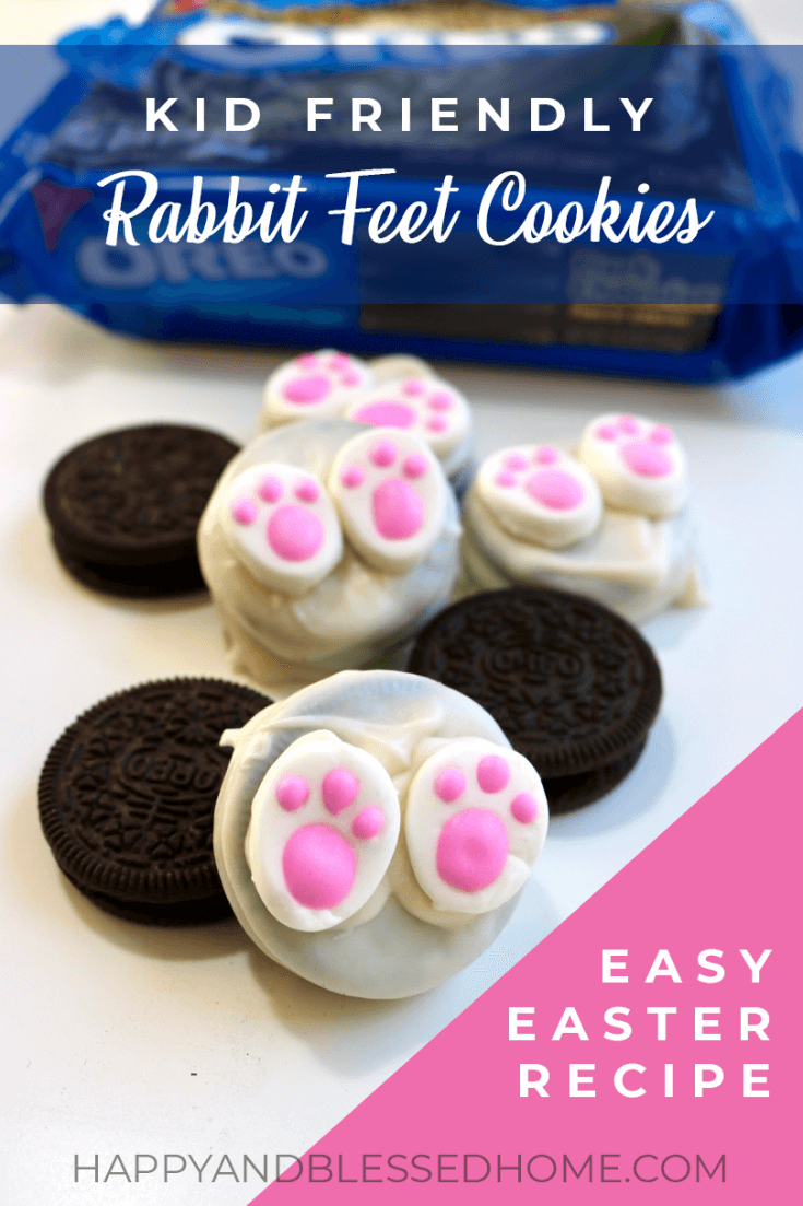 White almond bark covered Kid Friendly Rabbit Feet Cookies made with OREO cookies Recipe
